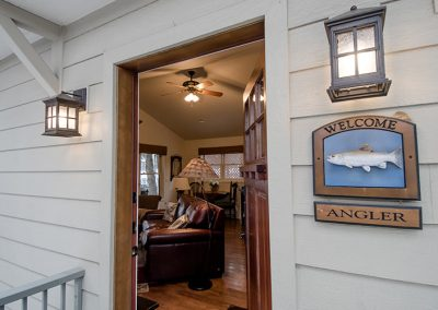 Cottage entrance and Angler sign