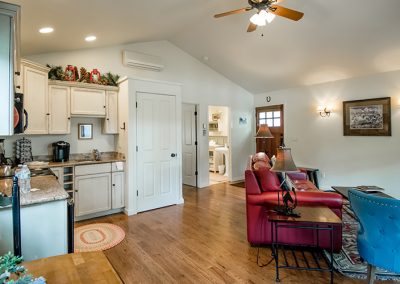 Cottage kitchenette and living room
