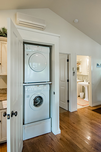 Cottage stacked washer and dryer