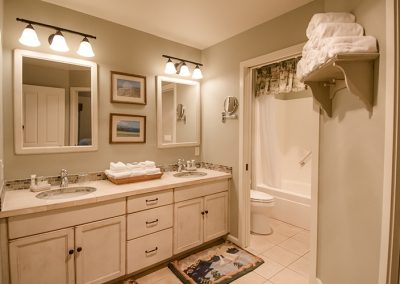Cottage bathroom double sinks