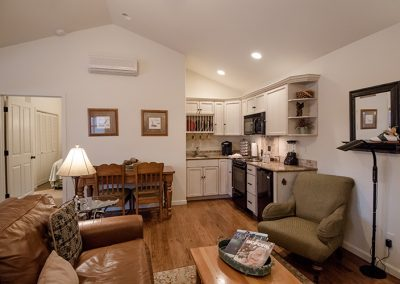 Cottage living room and kitchenette